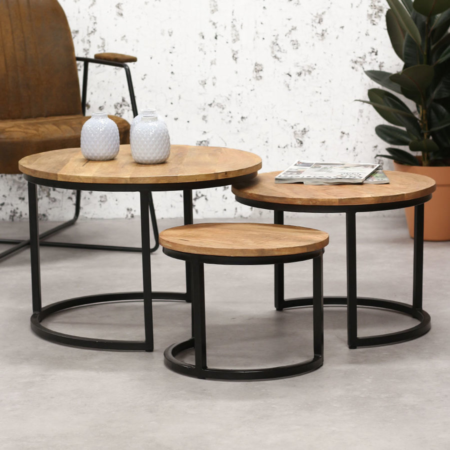 Industrial Coffee Table Cambridge (Set of 3)