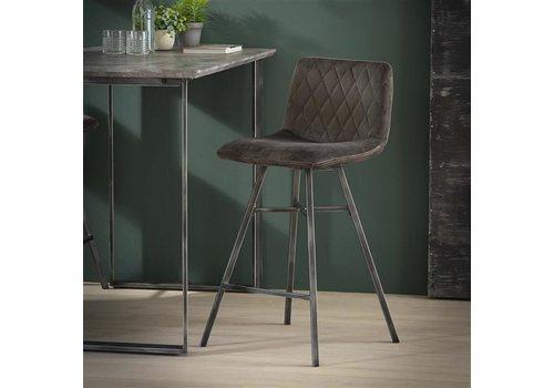 Bar stool Campbell Velvet Dark Brown