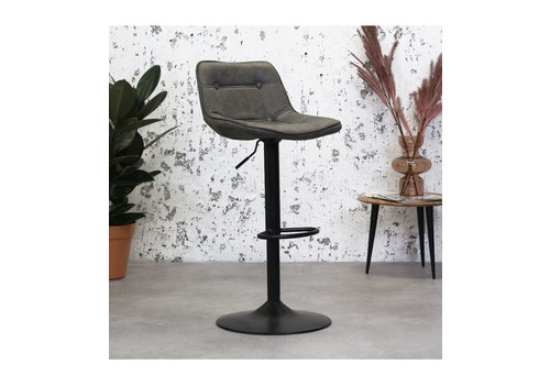 Industrial Bar Stool Ezra Anthracite microfiber