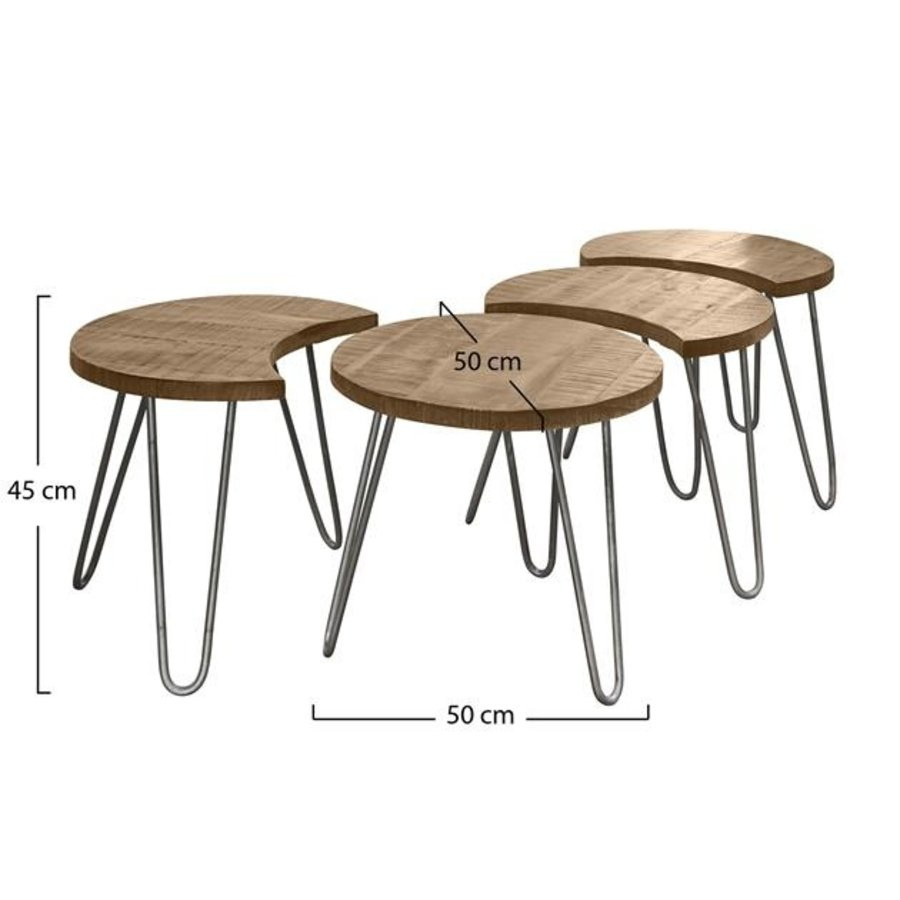 Industrial Coffee table Chilwell Beige (set of 4)