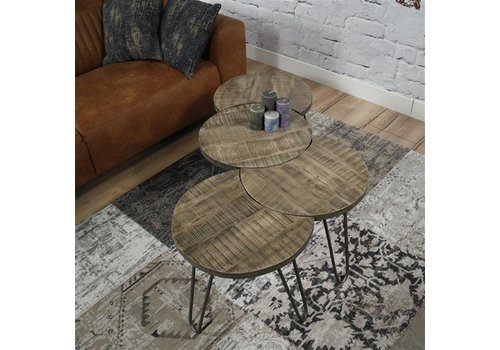 Industrial Coffee table Chilwell Brown (set of 4)