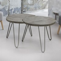 Industrial Coffee table Maddison Brown (set of 2)