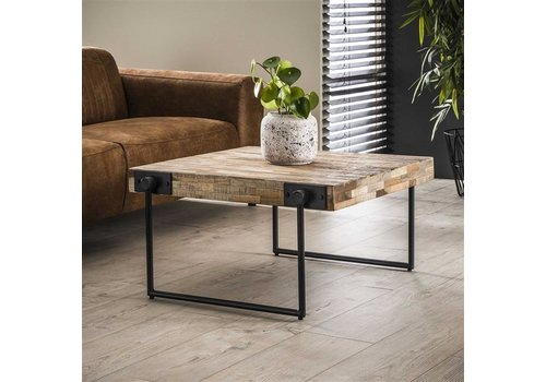 Industrial Coffee Table Mount Solid Teak Wood 80 x 80