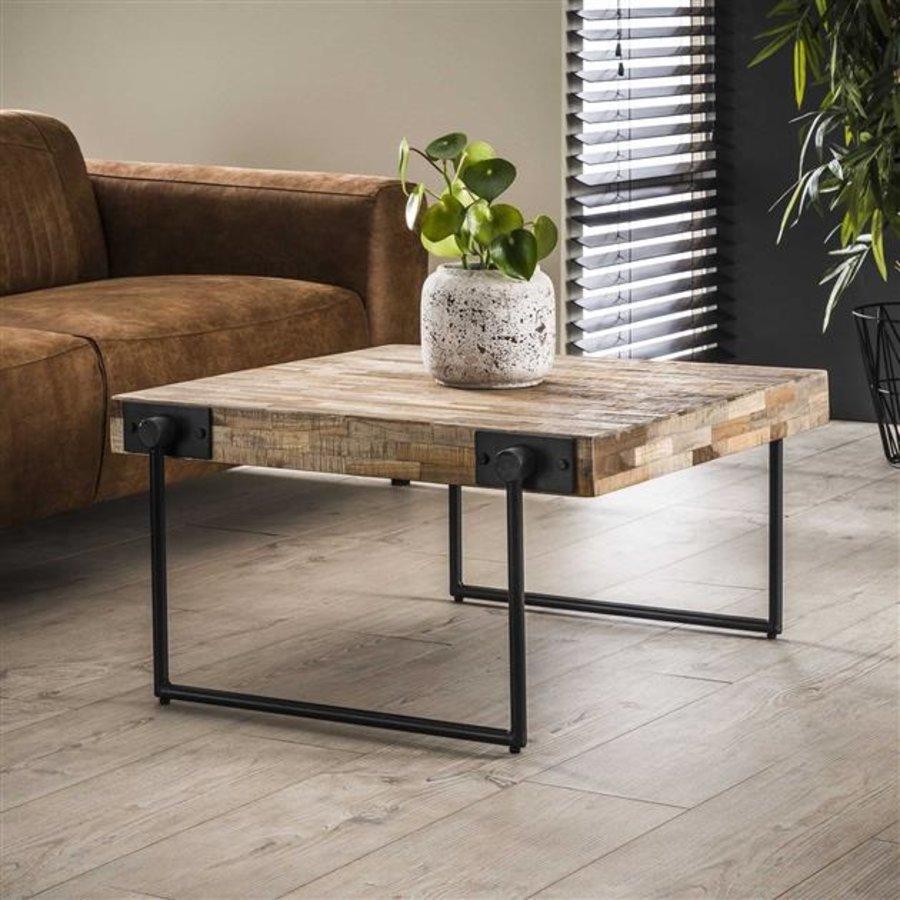 Industrial Coffee Table Mount Solid Teak Wood 80 x 80