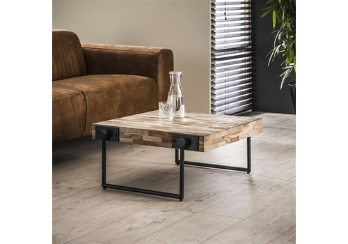 Industrial Coffee Table Mount Solid Teak Wood 70 x 70