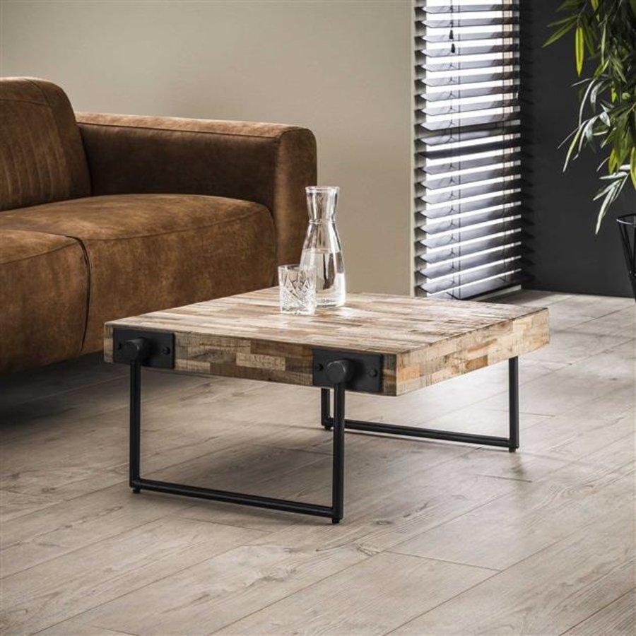Industrial Coffee Table Mount Solid Teak Wood 70 x 70