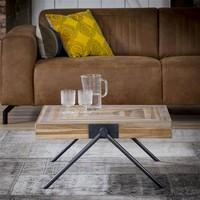 Industrial Coffee Table Davies Solid Teak Wood 80 x 80