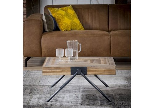 Industrial Coffee Table Davies Solid Teak Wood 80 x 80