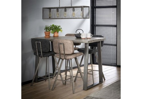 Industrial Bar Table Tomori Solid Mango Wood Grey