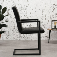Industrial Dining Chair Bars Black with arm