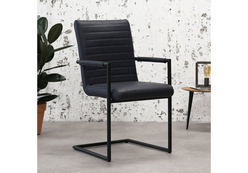 Industrial Dining Chair Bars Blue with arm