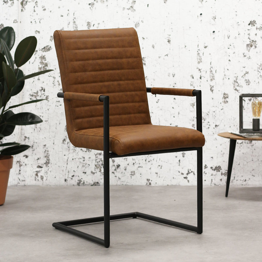 Industrial Dining Chair Bars Cognac with arm