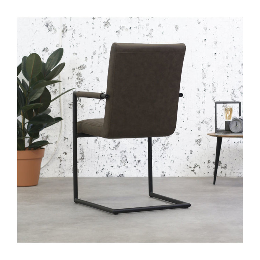 Industrial Dining Chair Bars Taupe with arm