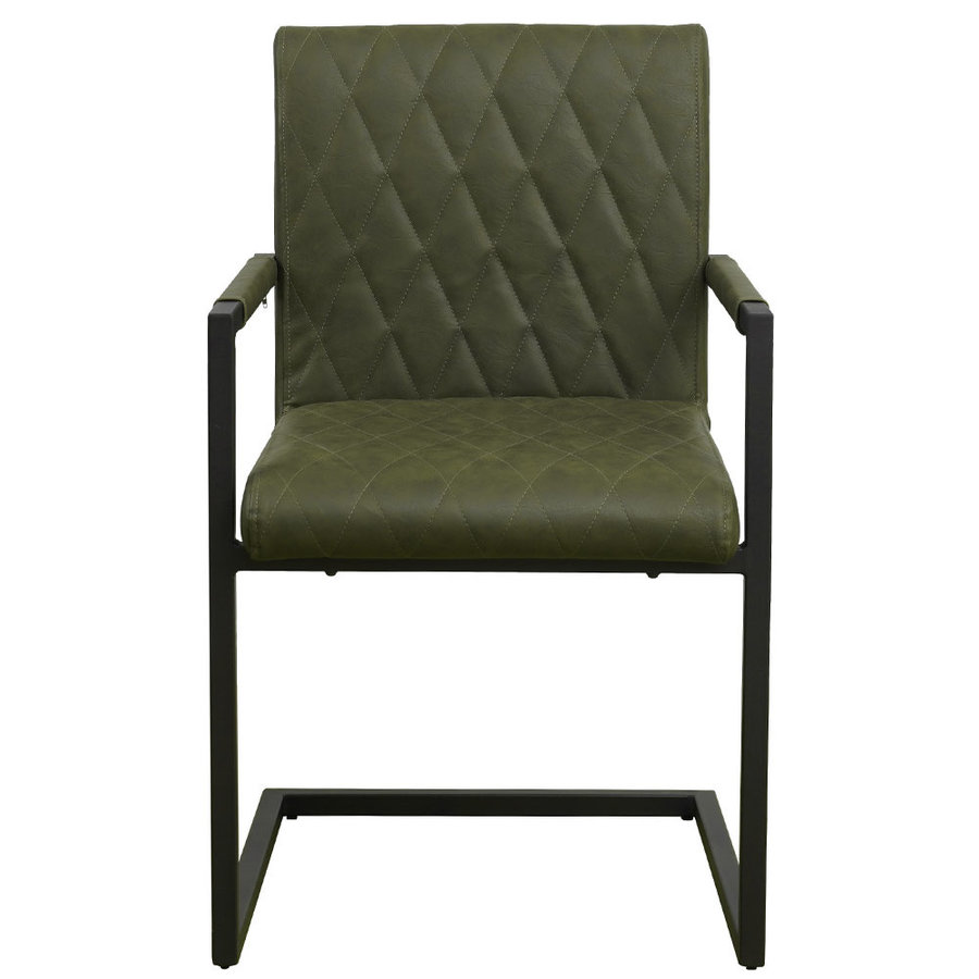 Industrial Dining Chair Rambo Green with arm