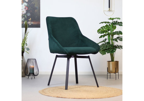 Swivel corduroy dining chair Luna Green