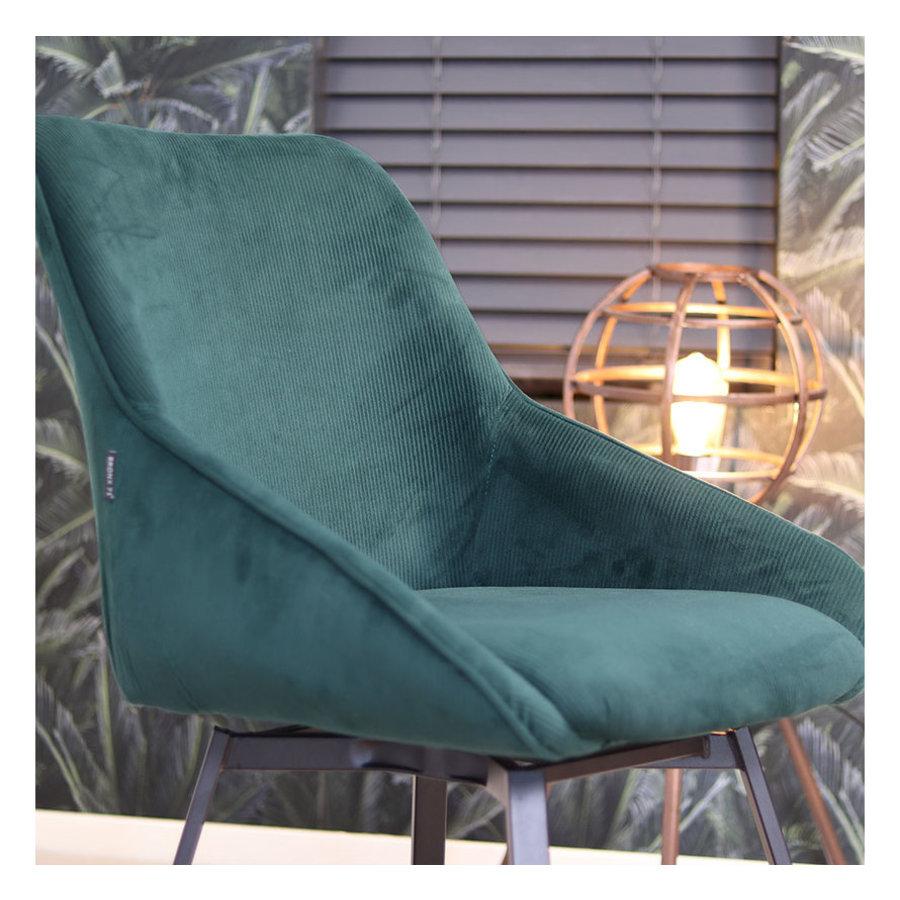 Swivel corduroy dining chair Luna Green
