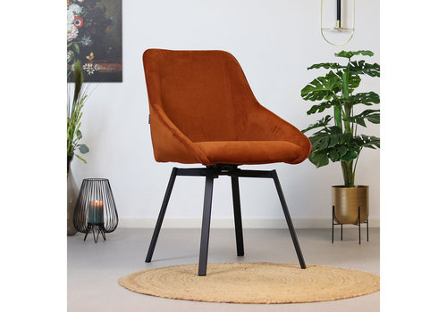 Swivel corduroy dining chair Luna Copper