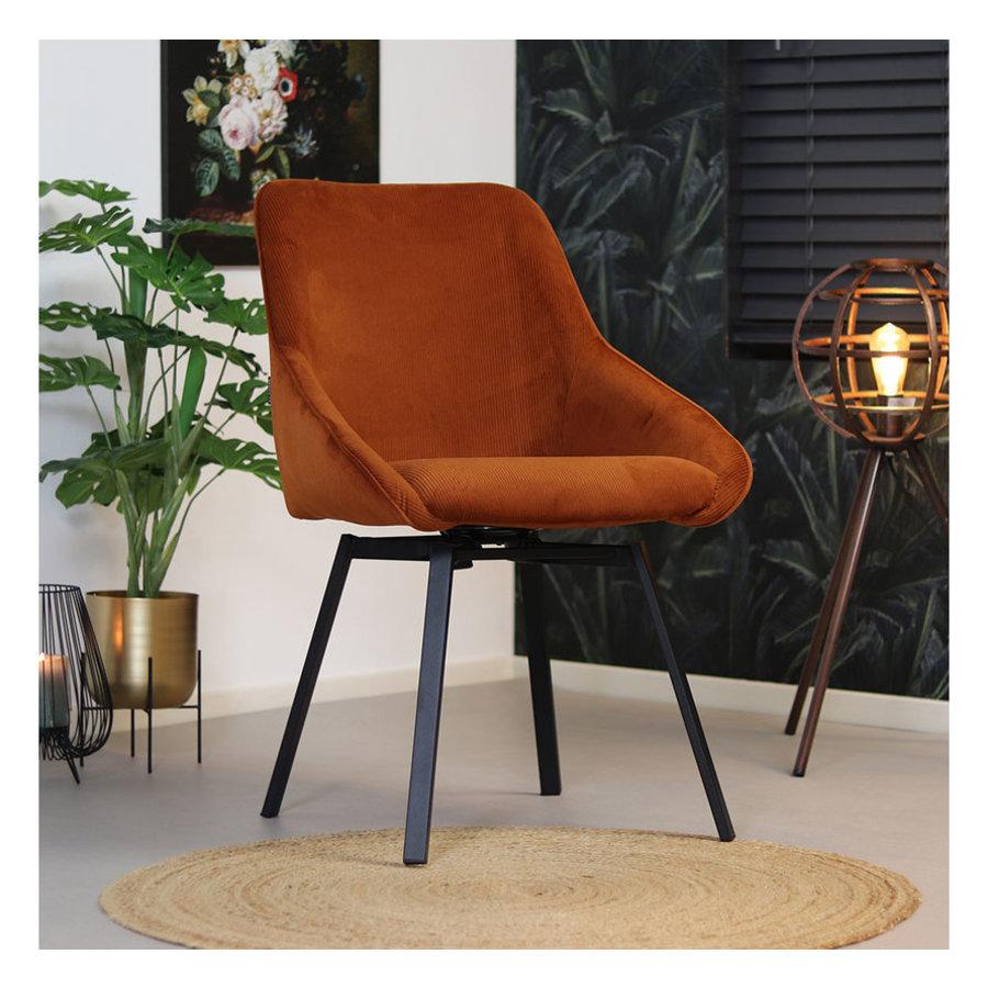 Swivel corduroy dining chair Luna Copper