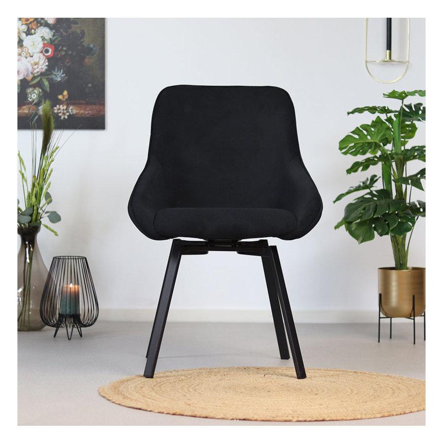 Swivel corduroy dining chair Luna Black