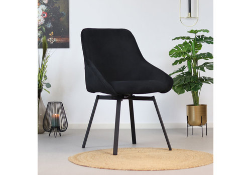 Swivel corduroy dining chair Luna Black