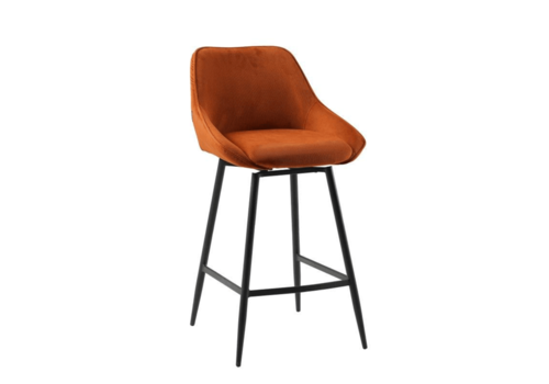 Swivel corduroy bar stool Luna Copper