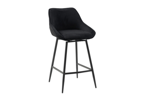 Swivel corduroy bar stool Luna Black