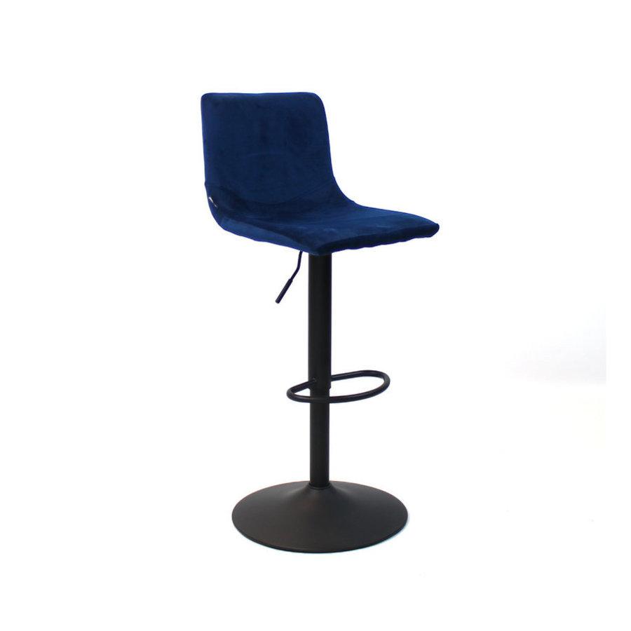 Velvet bar stool Frankie Blue height adjustable