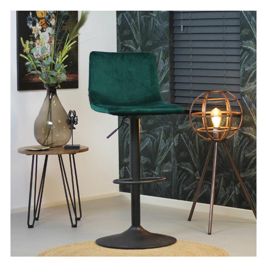 Velvet bar stool Frankie Green height adjustable