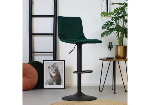 Velvet bar stool Frankie Green height adjustable