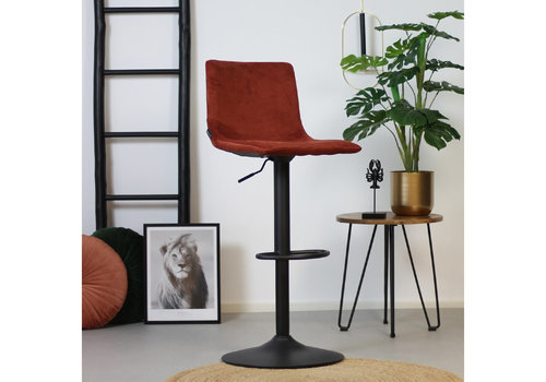Velvet bar stool Frankie Copper height adjustable