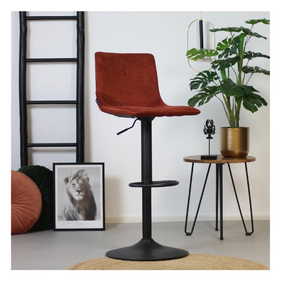 Velvet bar stool Frankie Copper height adjustable