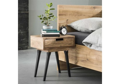 Industrial Bedside table Howard Solid Mango Wood 1L 4 Legs