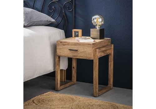 Industrial Bedside table Howard Solid Mango Wood 1L