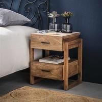 Industrial Bedside table Howard Solid Mango Wood 2L