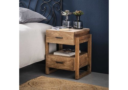 Industrial Bedside table Howard Solid Mango Wood 2L