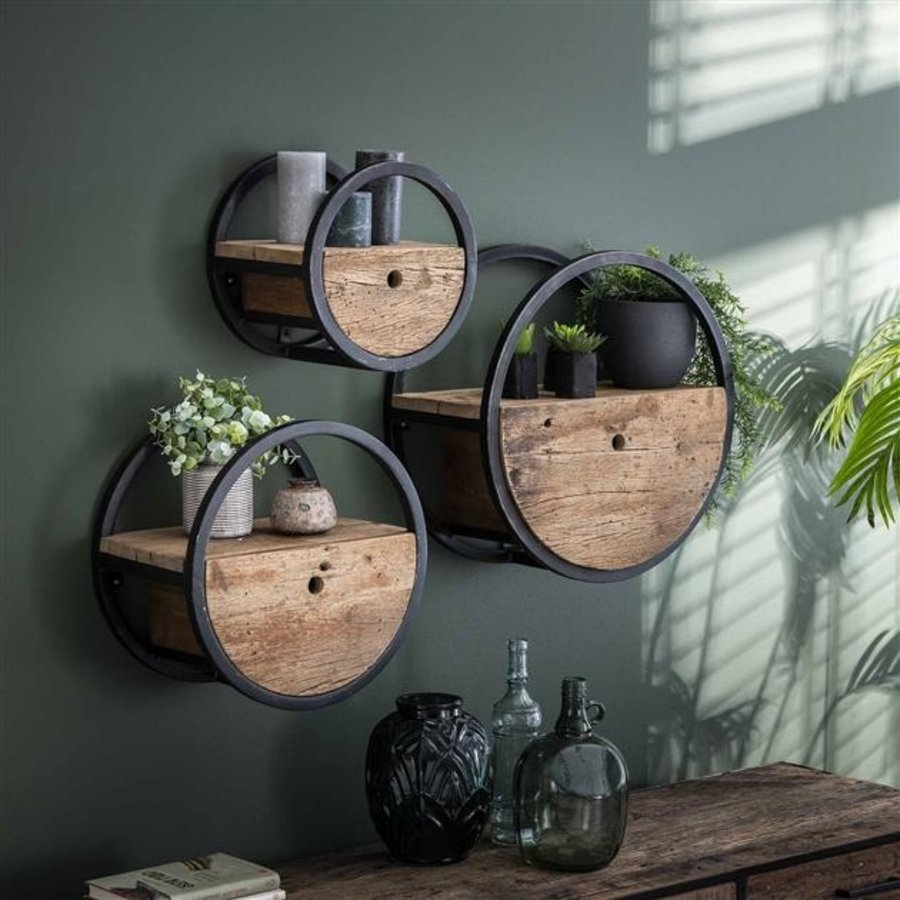 Wall shelf Dilon ø50 cm Robust Hardwood