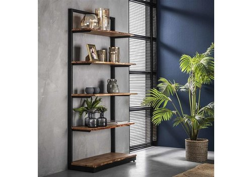 Industrial Wall Shelf Unit Dolman Solid Acacia Wood