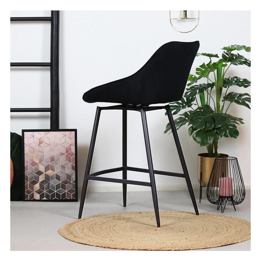 Swivel corduroy bar stool Luna Black