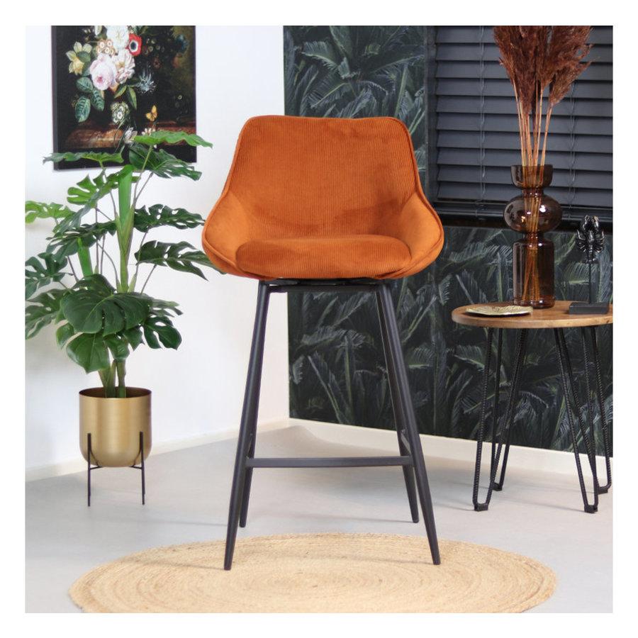 Swivel corduroy bar stool Luna Copper