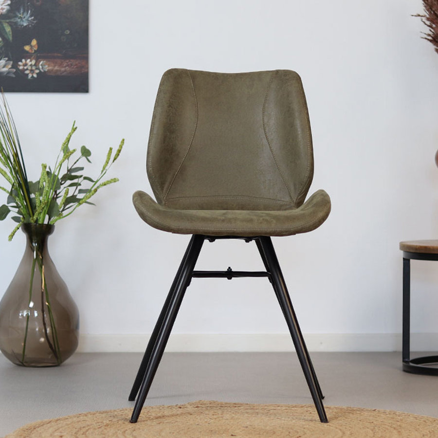 Industrial Dining Chair Barrel Green Leather