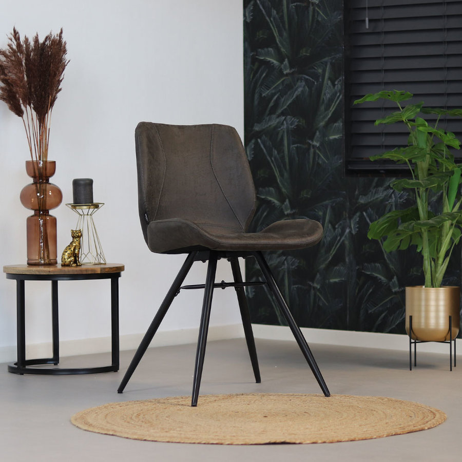 Industrial Dining Chair Barrel Anthracite Leather