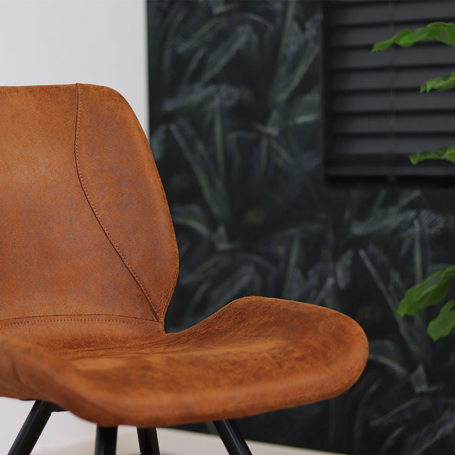 Industrial Dining Chair Barrel Cognac Leather