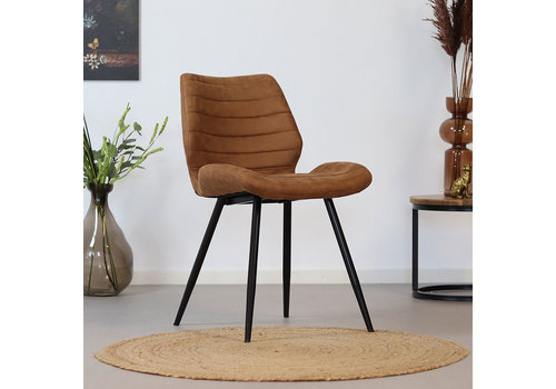 Industrial Dining Chair Morris Cognac