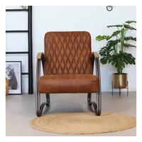Industrial armchair Ivy Cognac leather