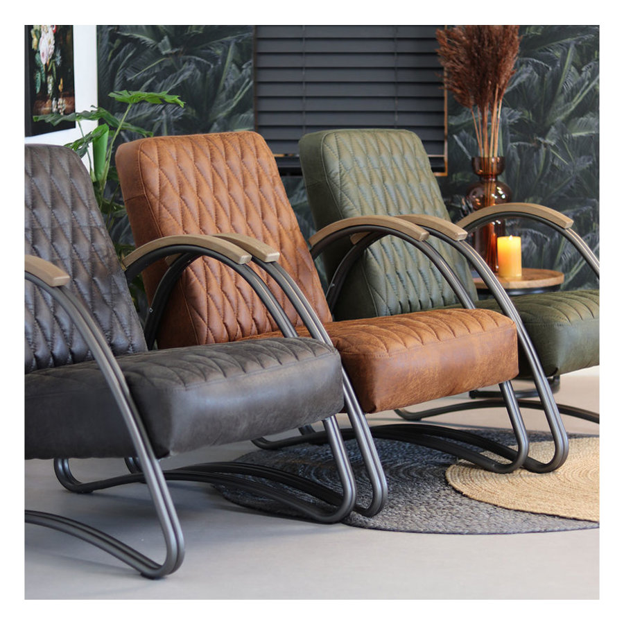Industrial armchair Ivy Green leather