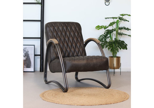 Industrial armchair Ivy Anthracite leather