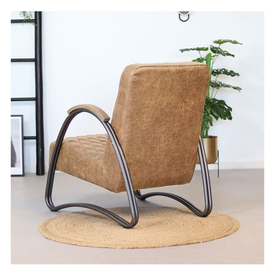 Industrial armchair Ivy Beige leather