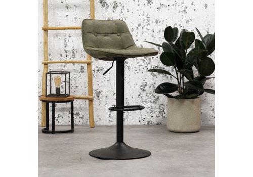 Industrial Bar Stool Ezra Green microfiber