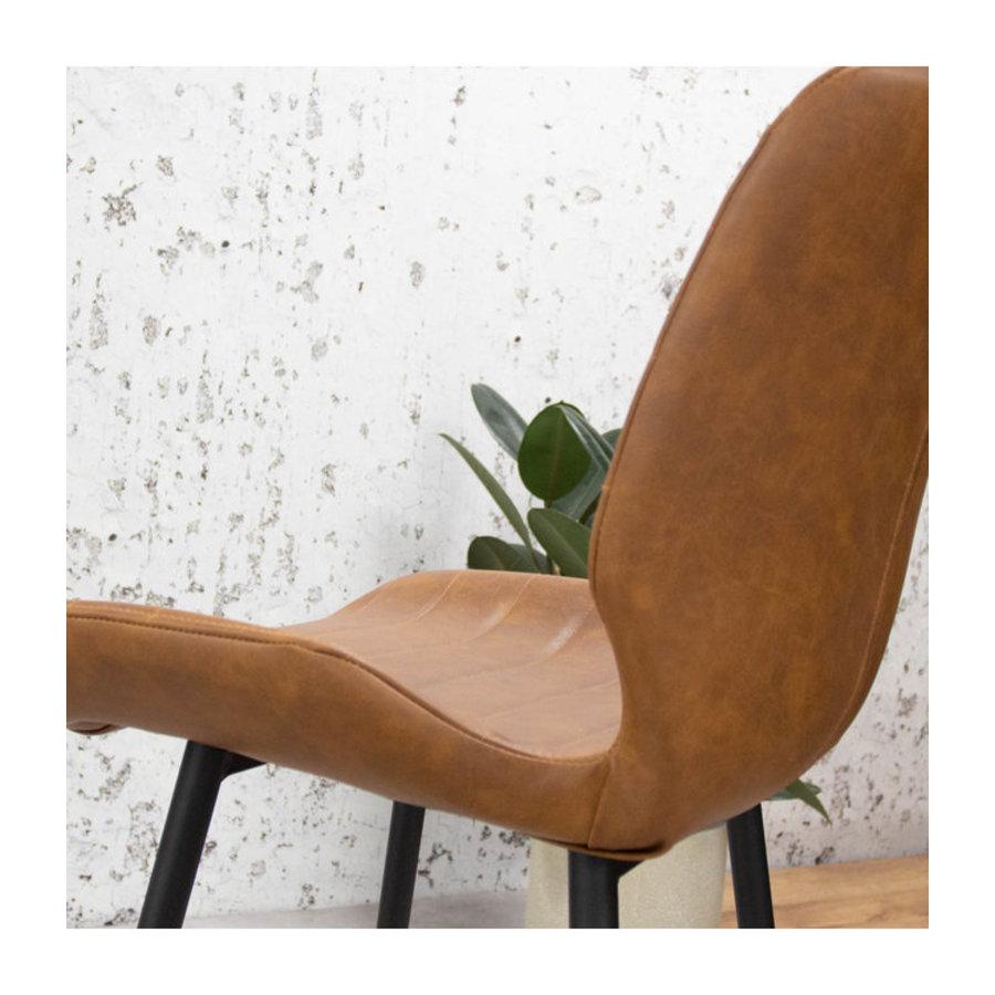 Industrial Dining Chair Morris Premium Cognac