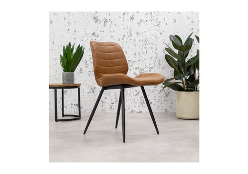 Industrial Dining Chair Morris Premium Cognac